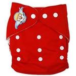 婴秀纯色按扣布尿裤(红色)