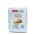 费雪欢乐之夜新生儿婴儿夜用纸尿裤6号14片装