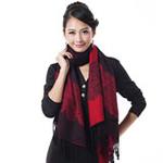 柏汇优品棉毛双色双面加厚长围巾披肩BH3203玫瑰黑红色