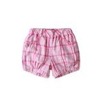 童壹库女童梭织格布短裤KFCF035201白/粉格160