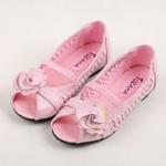 兔仔唛TUZAMA新款女童皮鞋编织玫瑰花公主鞋粉红33码