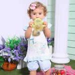 小富兰克夏装女童卡通小兔前开半开短袖套裙0139/粉红色/73