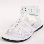 兔仔唛TUZAMA夏季新款女童铆钉水钻大中童凉鞋白色32码
