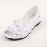 兔仔唛TUZAMA新款女童皮鞋编织玫瑰花公主鞋白色32码