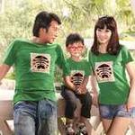 爱湾夏款绿色圆领鱼骨头图案T恤亲子女装S码
