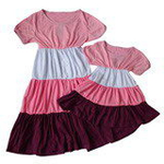 雪精灵亲子装连衣裙X2-1219粉紫色/宝宝款140
