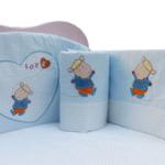 婴妮儿温馨时刻婴儿床品床围6件套全面绣花/蓝色(预付款)