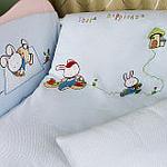 婴妮儿幸福兔子婴儿床品空调被床围12件套/蓝色(预付款)