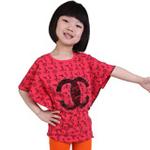 雪精灵女童蝙蝠袖T恤X2-1202西瓜红色/130