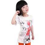 雪精灵女童短袖T恤X2-1205米白色/150