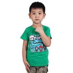 雪精灵男童短袖T恤X1-72002绿色/100