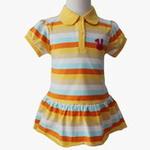 雪精灵女童针织彩条裙衫X2-604-2黄色/110