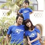爱湾亲子装蓝色家庭装套装710女装XL码