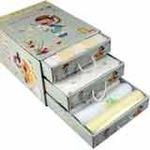 雪精灵三层抽屉纯棉8件套新生儿礼盒X-12008黄色