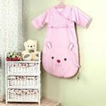 睡王可爱的小兔宝宝精梳棉造型长袖长款睡袋(粉色)
