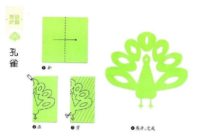 对折剪纸剪出好多小动物水果和蔬菜