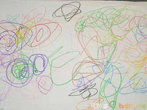 """第一阶段的蜡笔画还是以单纯的 还有用蜡笔点在白纸上的""""雨点"""""""